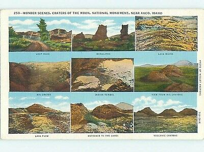 Linen NINE VIEWS ON ONE POSTCARD Arco Idaho ID hk3686