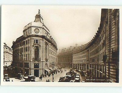 old rppc OLD CARS AND SHOPS ALONG REGENT STREET London England UK HM2263
