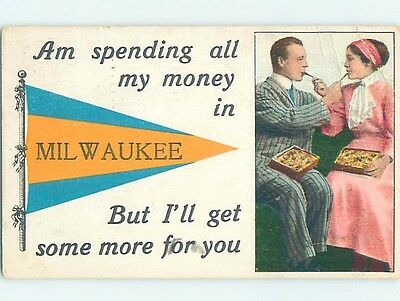 Divided-Back PENNANT POSTCARD Milwaukee Wisconsin WI HM5354