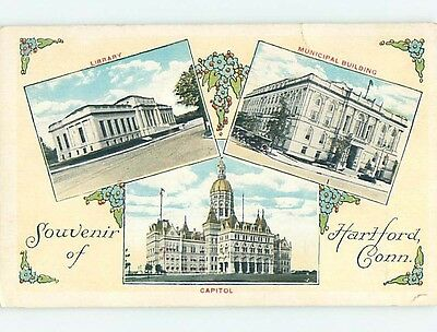 Divided-Back THREE VIEWS ON ONE POSTCARD Hartford Connecticut CT HM7224