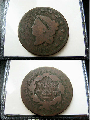 1828 Large Cent Coronet Head CHOICE VG COIN