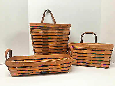 #2~Lot of 3 LONGABERGER Baskets, Heartland Collection Blue Accents 1993-1995