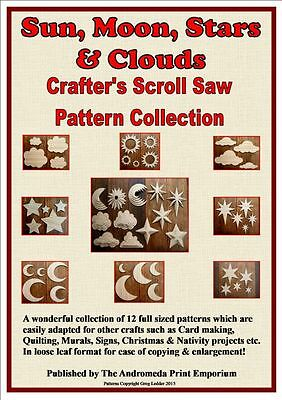 Sun/Moon/Stars 12 Full Size Scroll Saw / Craft Patterns + FREE Drawing Template!