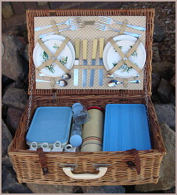 Vintage Retro BREXTON Picnic Set Hamper Basket Lily of the Valley China