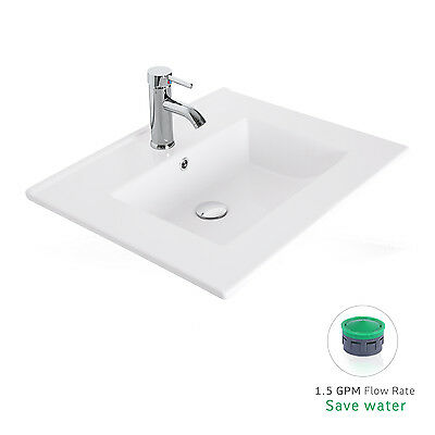 "24"" Drop in Rectangle 1.5 GPM Bathroom White Ceramic Sink Faucet Pop Up Drain"