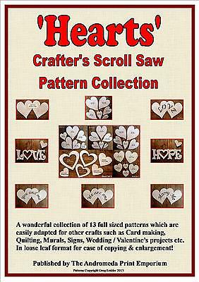 Hearts -13 Full Size Scroll Saw / Craft Patterns + FREE MDF Drawing Template!