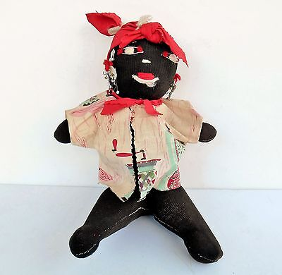 Vintage Primitive Black Americana Handmade Cloth Mammy Rag Doll