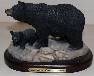 Amy & Addy Co. The Gray Rock Collection BLACK BEAR AND CUB on wood base