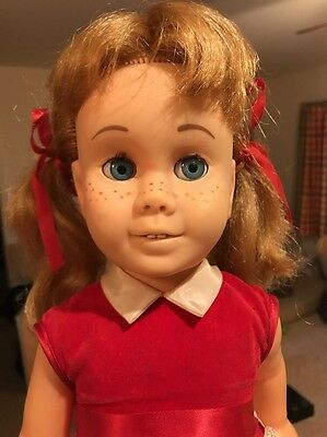 Vintage Chatty Cathy Doll BLONDE Pigtail Red Velvet Box Soft Face Glassine Eyes