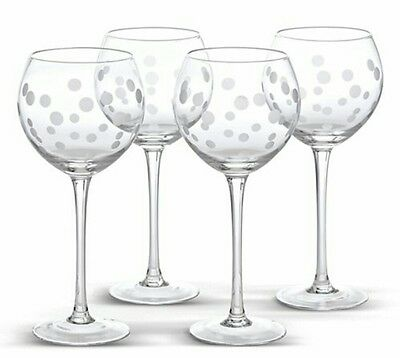Pampered Chef NEW - Clear Frosted Dots Stemware (Set of 4) #2334 retired in box
