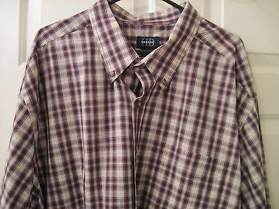 Harbor Bay Size 4Xl Long Sleeve Button Up Violet, Blue, Tan, & White Sport