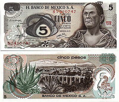 MEXICO, 5 PESOS, (1AS SERIES) P-62c, 1972, UNC, CRISP, BANKNOTE
