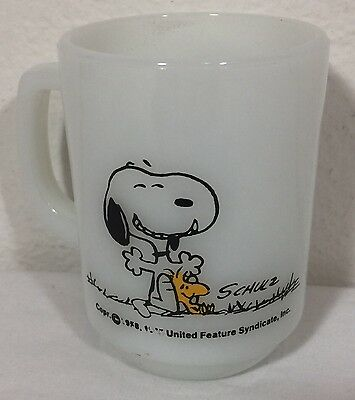 Vintage Fire King Snoopy Woodstock This Has Been a Good Day Mug Cup Milk Peanuts