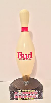"Budweiser Bud King of Beers Bowling Pin Beer Tap Handle 8.5"" Tall - Excellent"