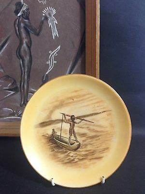Vintage BROWNIE DOWNING Small Wall Plate Aboriginal Boys Spear Fishing in Canoe