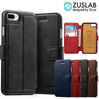 iPhone 8 7 Plus Cover for Apple Genuine ZUSLAB Delux Flip Leather Wallet Case