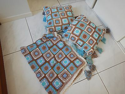 Spell Designs Carnaby crochet throw & 2 cushion covers