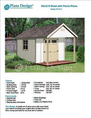 16 x 12 Cabin Loft Utility Shed with Porch Plans Plueprint Design P61612