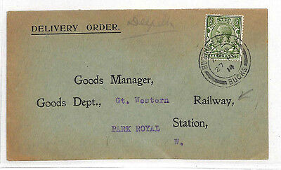 LL79 1914 GB RAILWAY GWR Delivery Order Bourne End *Park Royal Station* Bucks