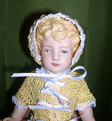 """Antique Reproduction German All Bisque Mignonette Doll 8"""" Molded Hair & Shoes"""