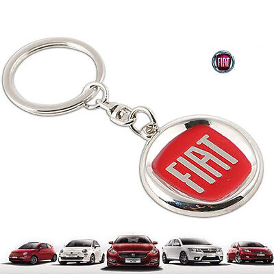 1* durable Red Car Logo Metal Key Chain Pendant Holder Silver Chain Keyring Fiat
