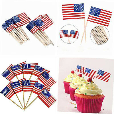100pcs Mini Toothpick Pick Flags America US World Flags Cocktail Decor Olympic