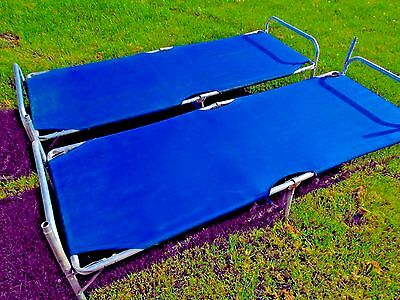 Vintage Camp Cots Set Of 2 Aluminum Stacking Military Bunks Blue Folding Scouts
