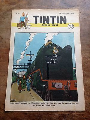 JOURNAL TINTIN 9 Belge (1946) couv Hergé BD ancienne RARE bel exemplaire