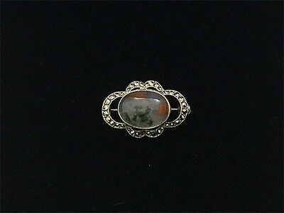 Vintage Solid Silver  SCOTTISH Cabochon MOSS AGATE & MARCASITE Brooch