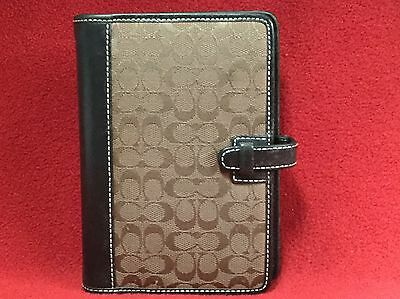 COACH DAY PLANNER 6 Ring Logo Organizer Leather Trim Brown 5.5 x 4