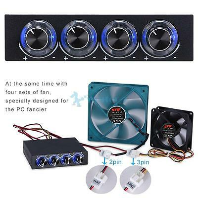 """3.5"""" Bay 4 Channel Cooling Speed Fan Reduce noise with Blue LED GDT Controller"""