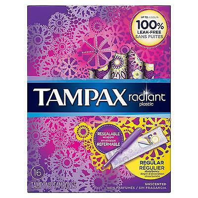 Tampax Radiant Plastic Unscented Tampons, Regular Absorbency, 16 Count