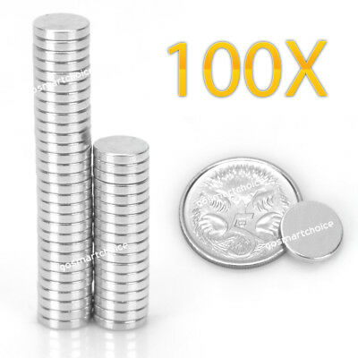 100 Pcs Strong Magnet 10mm x 2 mm Round Disc Cylinder Neodymium Magnets AU