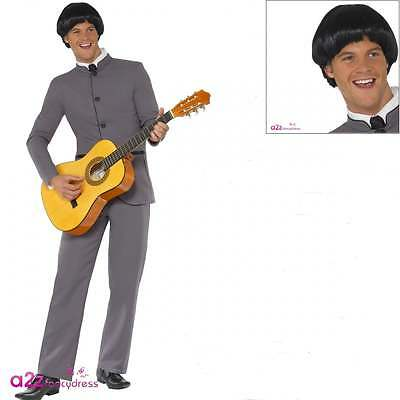 Mens Fab Four The Beatles 1960s 60s Pop Star Adult Fancy Dress Costume Wig
