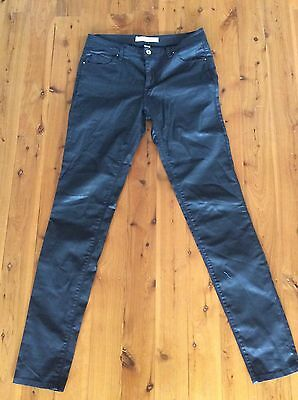 Country Road Black Wet Look Jeans Size 10. Worn Once As New!