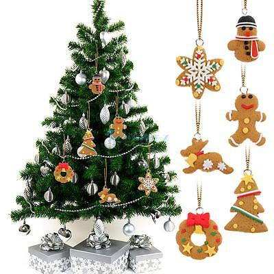 6pcs Christmas Ornament Polymer Clay Pendants Tree Hanging Gift party Decoration