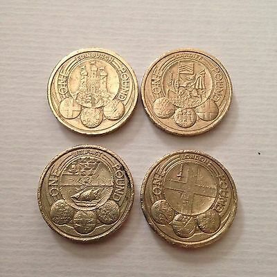 Full Set Of 24 One Pound Coins (inc. Edinburgh)