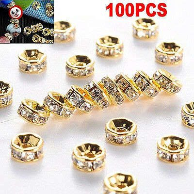 100pcs Silver Gold Crystal Rhinestone Rondelle Spacer Beads DIY 6mm 8mm FT