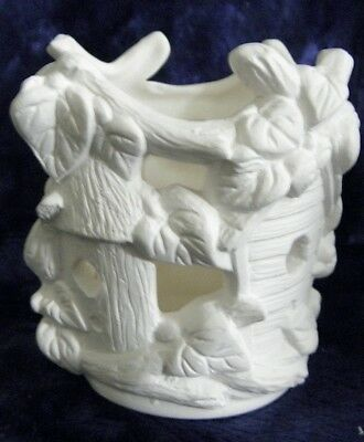 Ceramic Ready to Paint Bisque bird home tealight candle holder