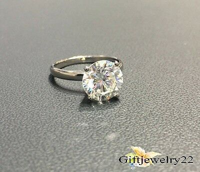 14K White Gold Solitaire D/VVS1 Round Cut Bridal 1.0 Ct Diamond Engagement Ring