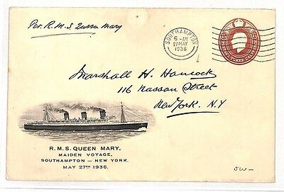 BG169 1936 GB Southampton USA New York RMS Queen Mary Maiden Voyage