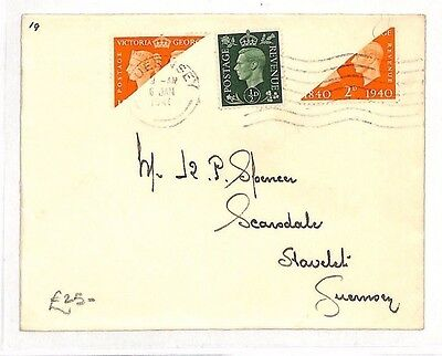 BG173 1941 WW2 Channel Islands German Occupation GUERNSEY BISECT Local Cover