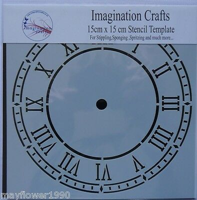 "Imagination Crafts MASK Stencil template 6"" x 6"" (15cm ) ROMAN CLOCK FACE"