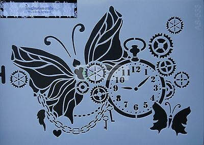 Imagination Crafts ART STENCIL mask A4 (210 x 295mm) TIME FLIES steampunk clock