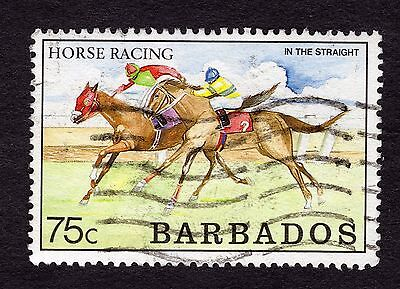 1990 Barbados 75c Horse Racing SG917 FINE USED R32192