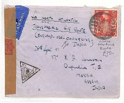 BG176 1941 GB Yorks INDIA Moran via USA & CHINA Chungking Censored Airmail Cover