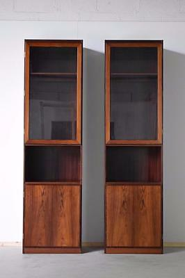 Pair Of Danish Rosewood Display Cabinet Bookcases