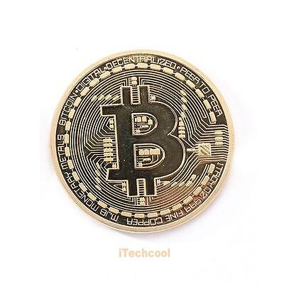 1Pc Bitcoin Collectible gift In Stock Golden Plate Commemorative BTC Coin Gifts