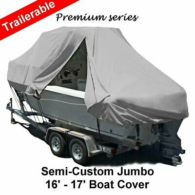 New Design with Zipper 600D 4.9-5.2m 16-17ft T-Top Jumbo Boat Cover Light Grey