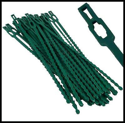 50 Large Green Garden Plant Cable Ties Support Gardening Plastic Clips Climbers